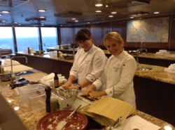 Chef Kellie Evans & Chef Noelle Barille roll sushi and prepare for classes in Riviera's Culinary Center.