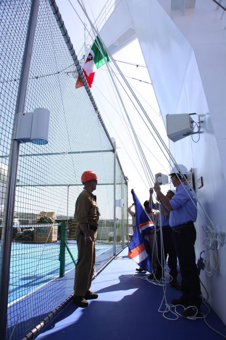 Lowering the Fincantieri Flag