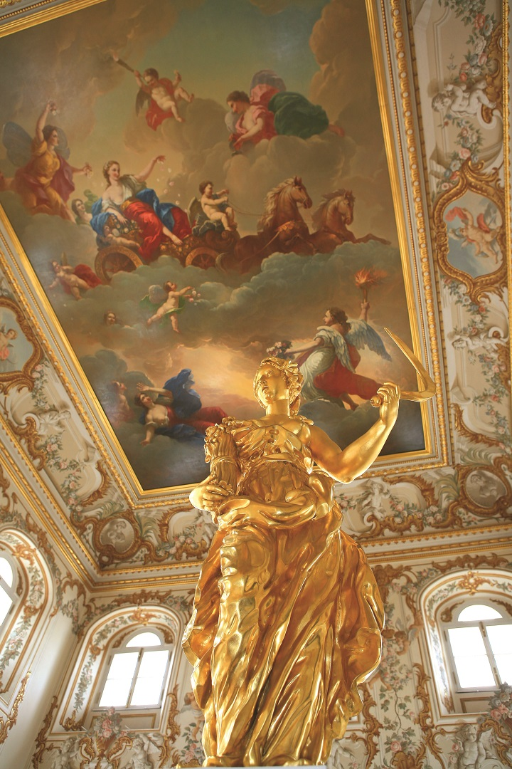 Golden Statue and Painted Cieling,Peters Palace, St Petersburg